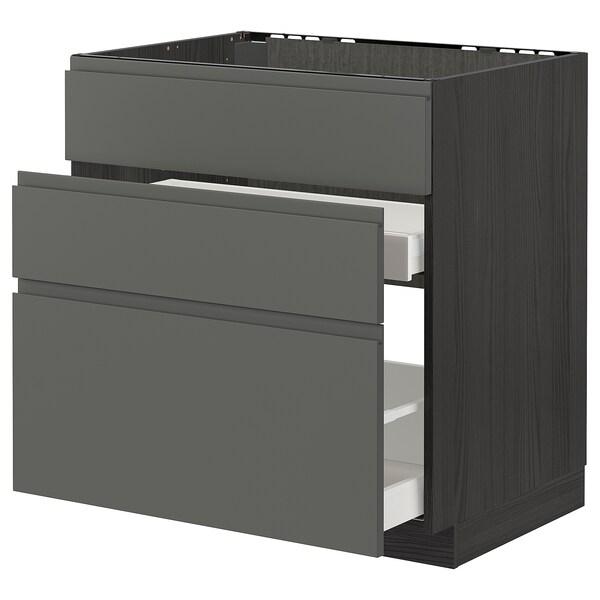METOD / MAXIMERA خ. قاعدة لحوض+3 واجهات/2أدراج, أسود/Voxtorp رمادي غامق, 80x60 سم