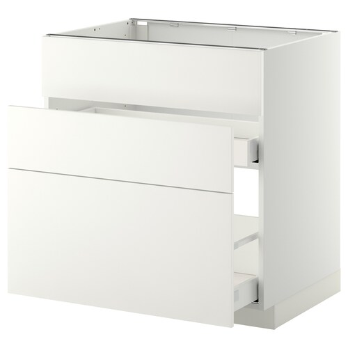 METOD / MAXIMERA base cab f sink+3 fronts/2 drawers white/Häggeby white 80.0 cm 61.6 cm 88.0 cm 60.0 cm 80.0 cm
