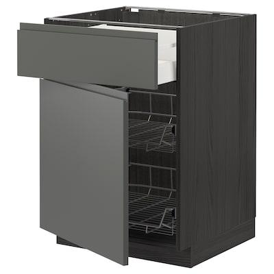 METOD / MAXIMERA Base cab w wire basket/drawer/door, black/Voxtorp dark grey, 60x60 cm