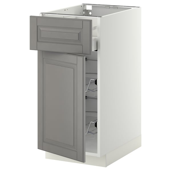 METOD / MAXIMERA Base cab w wire basket/drawer/door, white/Bodbyn grey, 40x60 cm