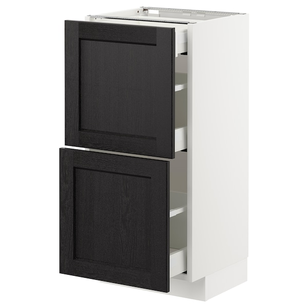 METOD / MAXIMERA Base cab with 2 fronts/3 drawers, white/Lerhyttan black stained, 40x37 cm