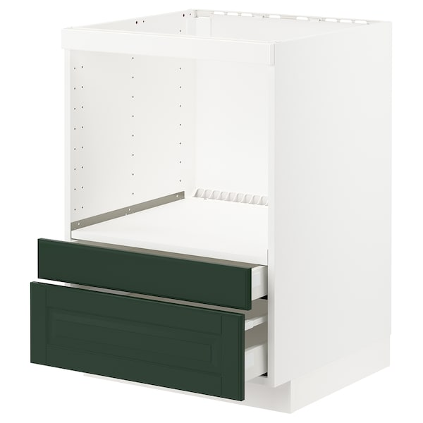 METOD / MAXIMERA Base cabinet f combi micro/drawers, white/Bodbyn dark green, 60x60 cm
