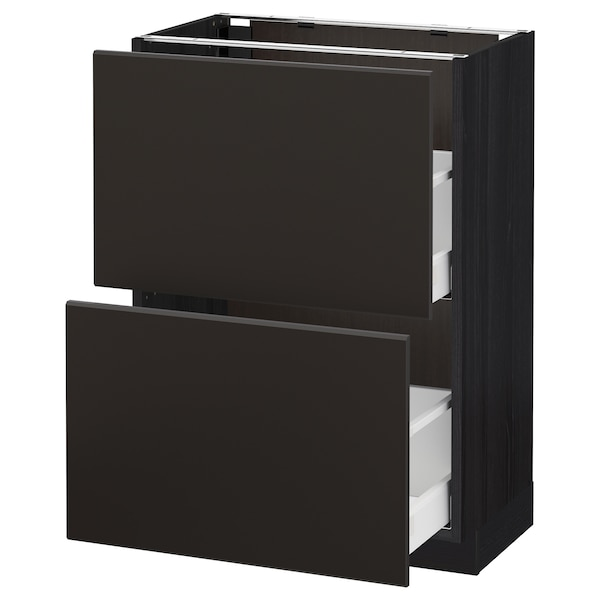 METOD / MAXIMERA Base cabinet with 2 drawers, black/Kungsbacka anthracite, 60x37 cm
