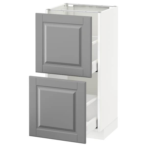 METOD / MAXIMERA base cabinet with 2 drawers white/Bodbyn grey 40.0 cm 39.5 cm 88.0 cm 37.0 cm 80.0 cm