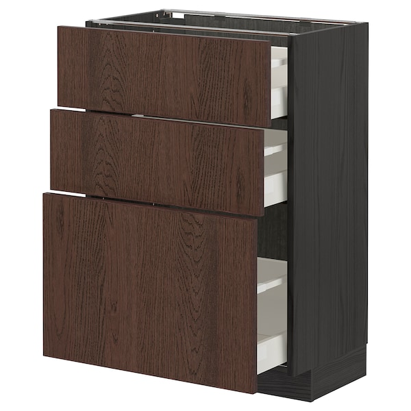 METOD / MAXIMERA Base cabinet with 3 drawers, black/Sinarp brown, 60x37 cm