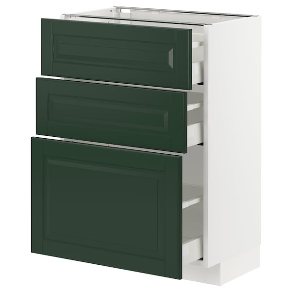 METOD / MAXIMERA base cabinet with 3 drawers white/Bodbyn dark green 60.0 cm 39.5 cm 88.0 cm 37.0 cm 80.0 cm