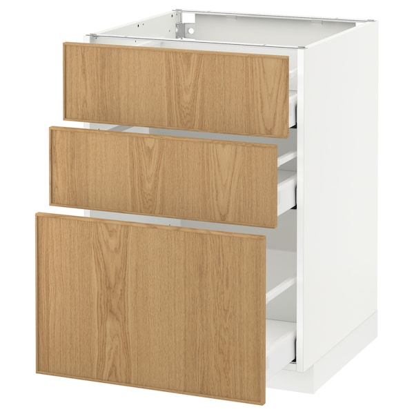 METOD / MAXIMERA base cabinet with 3 drawers white/Ekestad oak 60.0 cm 61.9 cm 88.0 cm 60.0 cm 80.0 cm