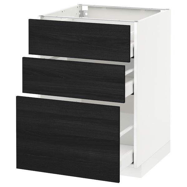 METOD / MAXIMERA base cabinet with 3 drawers white/Tingsryd black 60.0 cm 61.6 cm 88.0 cm 60.0 cm 80.0 cm