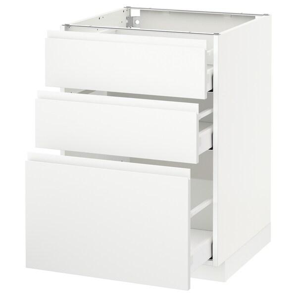 METOD / MAXIMERA base cabinet with 3 drawers white/Voxtorp matt white 60.0 cm 62.1 cm 88.0 cm 60.0 cm 80.0 cm