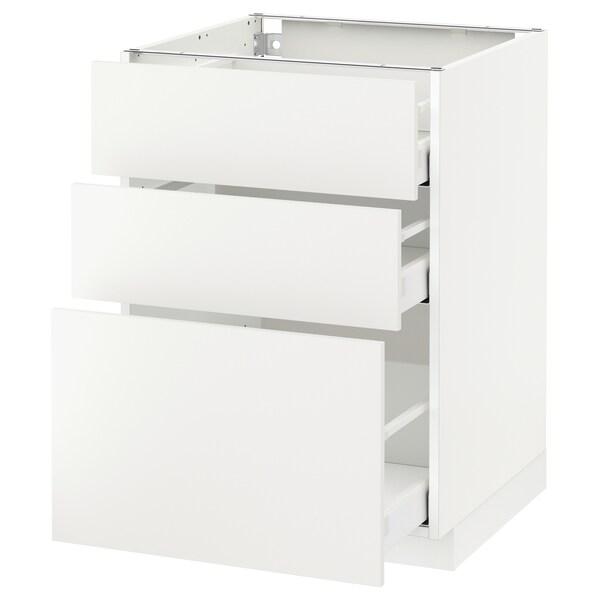 METOD / MAXIMERA base cabinet with 3 drawers white/Häggeby white 60.0 cm 61.6 cm 88.0 cm 60.0 cm 80.0 cm