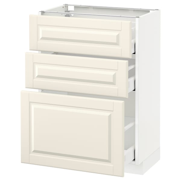 METOD / MAXIMERA base cabinet with 3 drawers white/Bodbyn off-white 60.0 cm 39.5 cm 88.0 cm 37.0 cm 80.0 cm