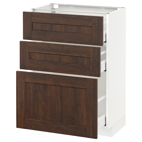 METOD / MAXIMERA base cabinet with 3 drawers white/Edserum brown 60.0 cm 39.4 cm 88.0 cm 37.0 cm 80.0 cm