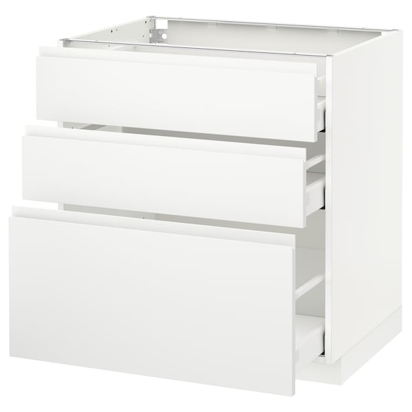 METOD / MAXIMERA base cabinet with 3 drawers white/Voxtorp matt white 80.0 cm 62.1 cm 88.0 cm 60.0 cm 80.0 cm
