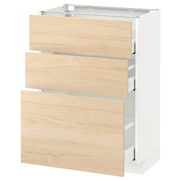 METOD / MAXIMERA base cabinet with 3 drawers white/Askersund light ash effect 60.0 cm 39.2 cm 88.0 cm 37.0 cm 80.0 cm