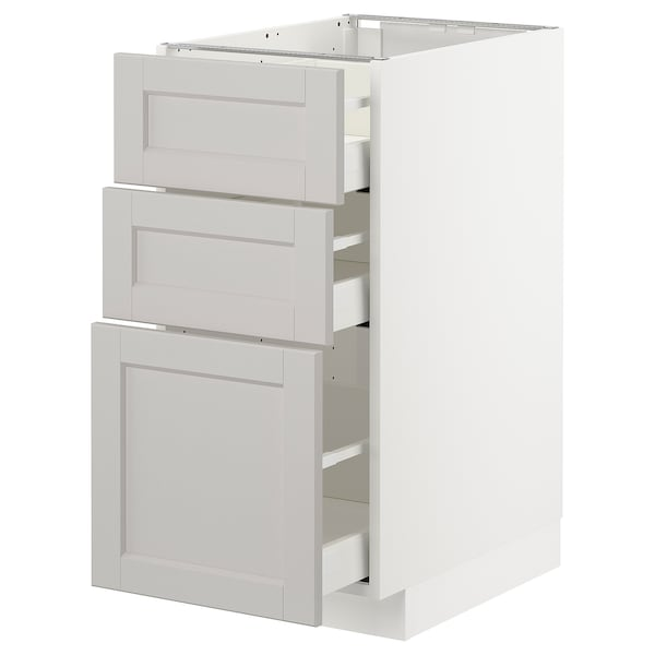 METOD / MAXIMERA base cabinet with 3 drawers white/Lerhyttan light grey 40.0 cm 61.9 cm 88.0 cm 60.0 cm 80.0 cm