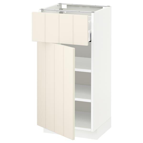 METOD / MAXIMERA Base cabinet with drawer/door, white/Hittarp off-white, 40x37 cm