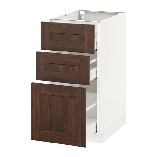 Metod maximera base cabinet with 3 drawers white for Wood effect kitchen units