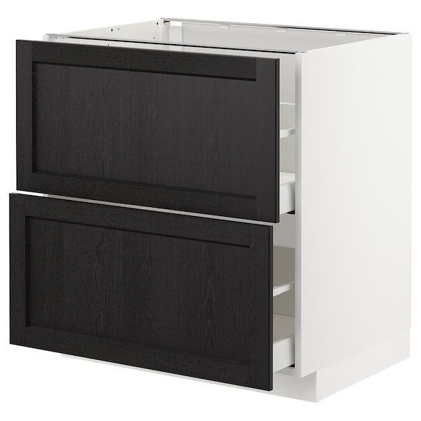 METOD / MAXIMERA Base cb 2 fronts/2 high drawers, white/Lerhyttan black stained, 80x60 cm