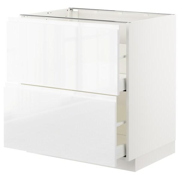 METOD / MAXIMERA base cb 2 fronts/2 high drawers white/Voxtorp high-gloss/white 80.0 cm 62.1 cm 88.0 cm 60.0 cm 80.0 cm