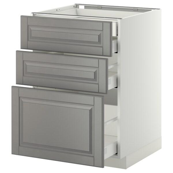 METOD / MAXIMERA Base cb 3 frnts/2 low/1 md/1 hi drw, white/Bodbyn grey, 60x60 cm
