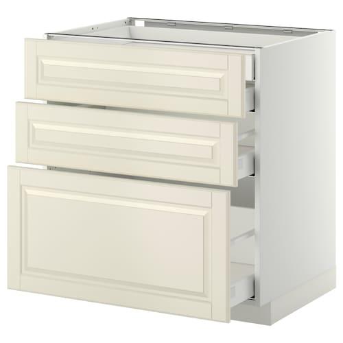 METOD / MAXIMERA base cb 3 frnts/2 low/1 md/1 hi drw white/Bodbyn off-white 80.0 cm 61.9 cm 88.0 cm 60.0 cm 80.0 cm