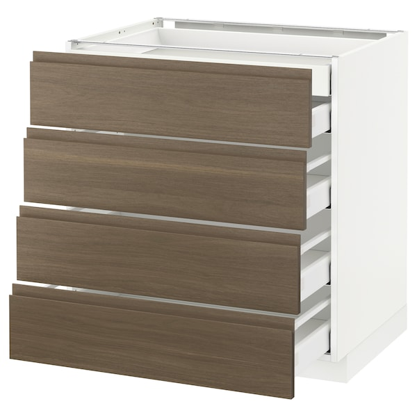 METOD / MAXIMERA base cb 4 frnts/2 low/3 md drwrs white/Voxtorp walnut 80.0 cm 62.1 cm 88.0 cm 60.0 cm 80.0 cm