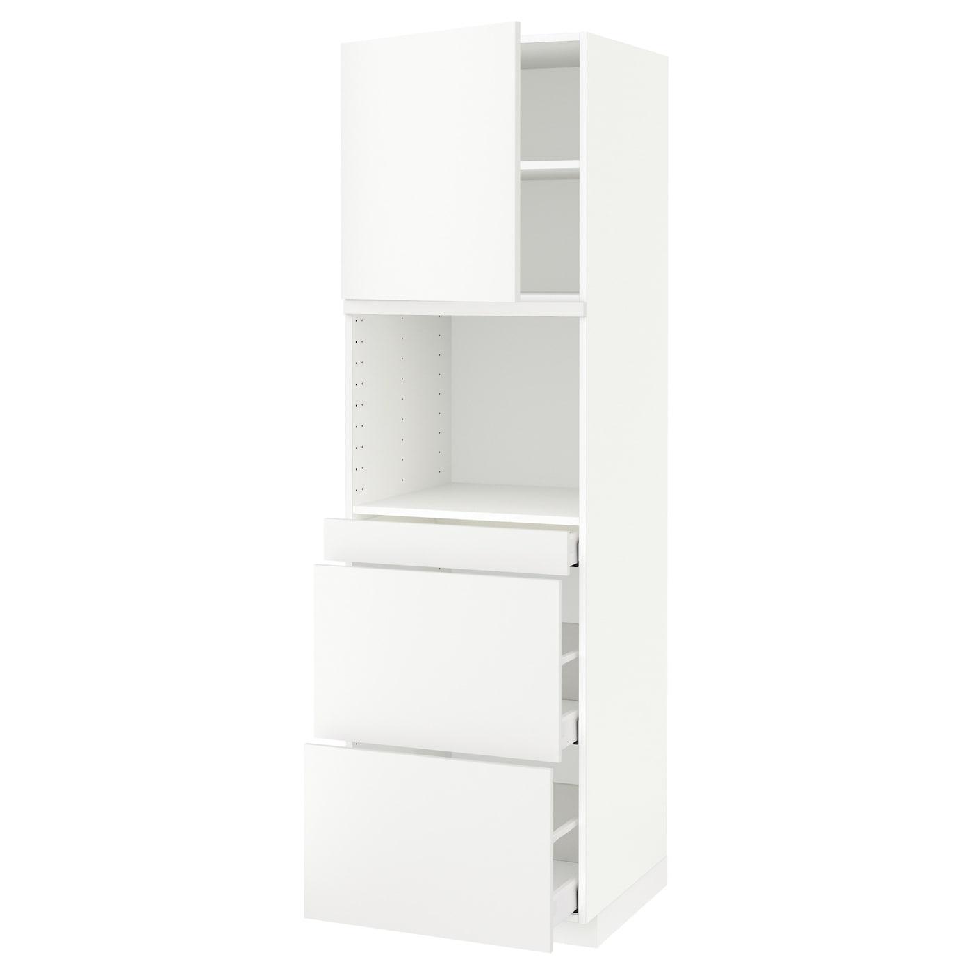 Meuble Micro Onde Ikea metod / maximera hi cab f micro combi w door/3 drwrs - white, häggeby white  60x60x200 cm