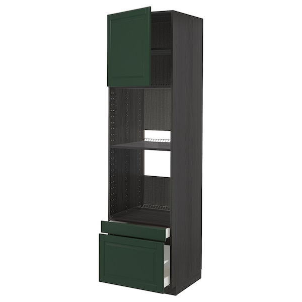 METOD / MAXIMERA Hi cab f ov/combi ov w dr/2 drwrs, black/Bodbyn dark green, 60x60x220 cm