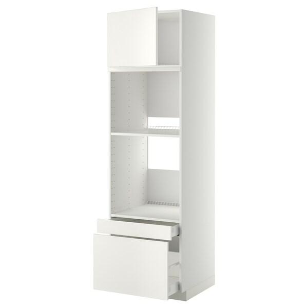 METOD / MAXIMERA خزانة عالية لفرن/فرن مع ب./2 د., أبيض/Veddinge أبيض, 60x60x200 سم