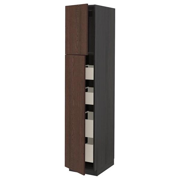 METOD / MAXIMERA Hi cab w 2 doors/4 drawers, black/Sinarp brown, 40x60x200 cm
