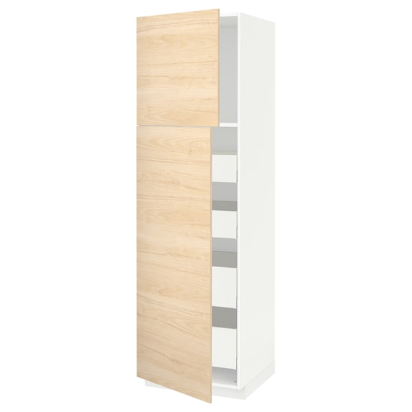 METOD / MAXIMERA Hi cab w 2 doors/4 drawers, white/Askersund light ash effect, 60x60x200 cm