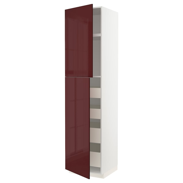 METOD / MAXIMERA Hi cab w 2 doors/4 drawers, white Kallarp/high-gloss dark red-brown, 60x60x240 cm