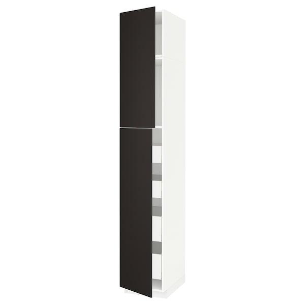 METOD / MAXIMERA Hi cab w 2 doors/4 drawers, white/Kungsbacka anthracite, 40x60x240 cm