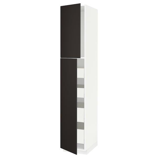 METOD / MAXIMERA Hi cab w 2 doors/4 drawers, white/Kungsbacka anthracite, 40x60x220 cm