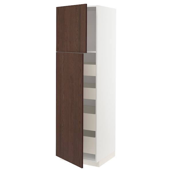 METOD / MAXIMERA Hi cab w 2 doors/4 drawers, white/Sinarp brown, 60x60x200 cm