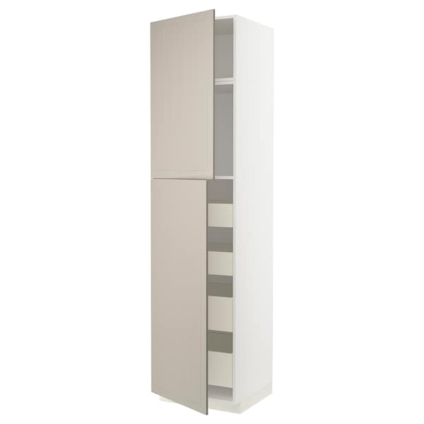 METOD / MAXIMERA Hi cab w 2 doors/4 drawers, white/Stensund beige, 60x60x240 cm