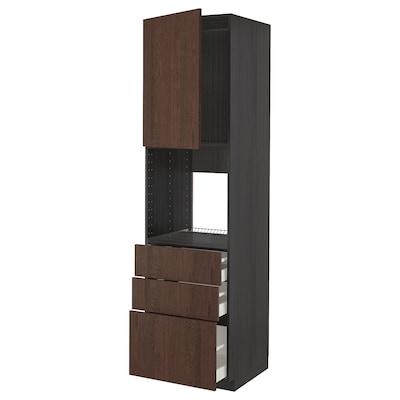 METOD / MAXIMERA High cab f oven w door/3 drawers, black/Sinarp brown, 60x60x220 cm