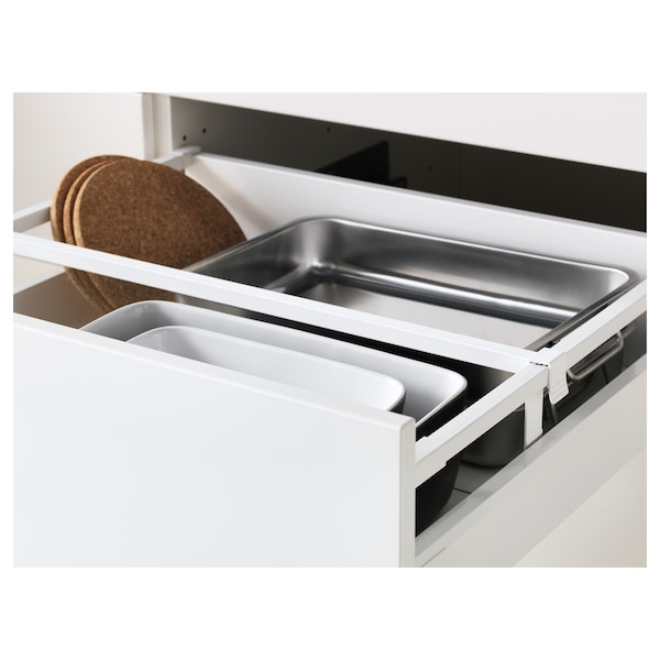 METOD / MAXIMERA High cabinet f oven+door/2 drawers, white/Bodbyn off-white, 60x60x200 cm