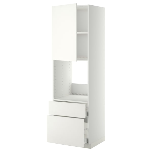 METOD / MAXIMERA High cabinet f oven+door/2 drawers, white/Häggeby white, 60x60x200 cm