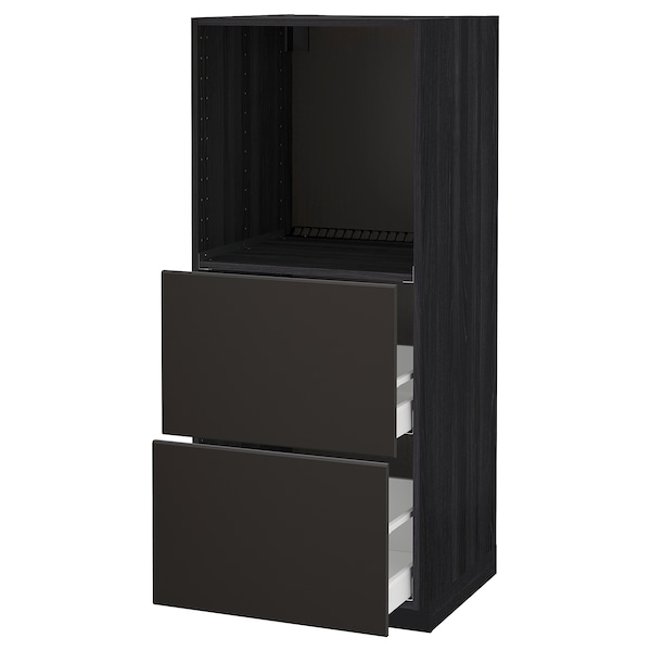 METOD / MAXIMERA High cabinet w 2 drawers for oven, black/Kungsbacka anthracite, 60x60x140 cm
