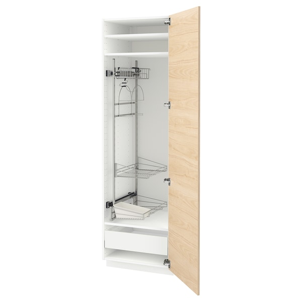 METOD / MAXIMERA High cabinet with cleaning interior, white/Askersund light ash effect, 60x60x200 cm