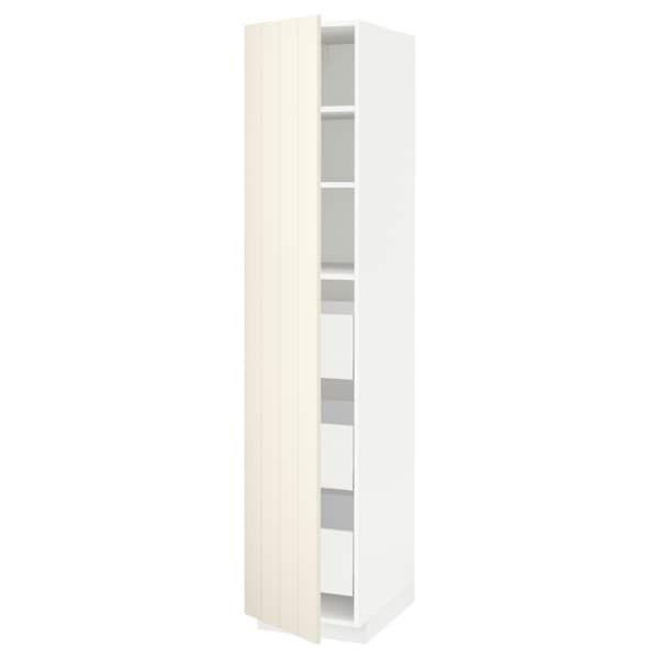 METOD / MAXIMERA high cabinet with drawers white/Hittarp off-white 40.0 cm 61.8 cm 208.0 cm 60.0 cm 200.0 cm