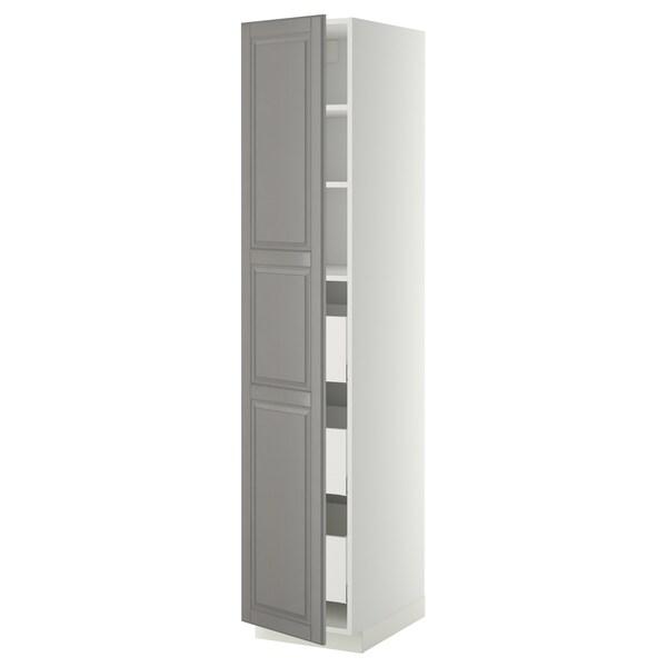 METOD / MAXIMERA high cabinet with drawers white/Bodbyn grey 40.0 cm 61.9 cm 208.0 cm 60.0 cm 200.0 cm