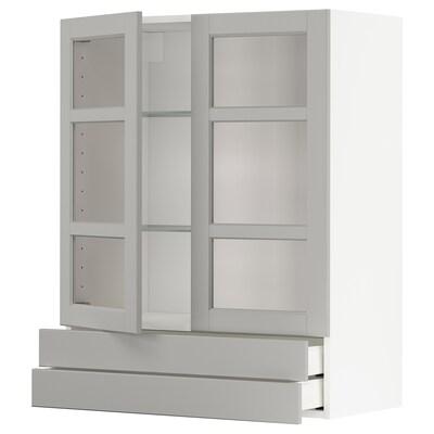 METOD / MAXIMERA خ. قاعدة 2 أبواب زجاجية/2 أدراج, أبيض/Lerhyttan رمادي فاتح, 80x100 سم