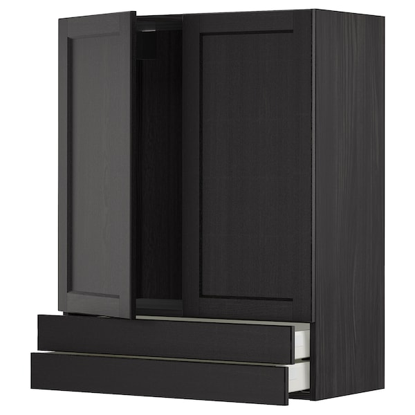 METOD / MAXIMERA Wall cabinet w 2 doors/2 drawers, black/Lerhyttan black stained, 80x100 cm