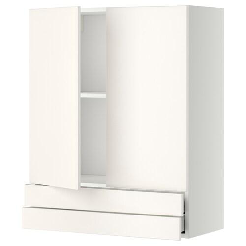 METOD / MAXIMERA wall cabinet w 2 doors/2 drawers white/Veddinge white 80.0 cm 38.6 cm 100.0 cm