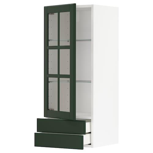 METOD / MAXIMERA wall cabinet w glass door/2 drawers white/Bodbyn dark green 40.0 cm 38.9 cm 100.0 cm