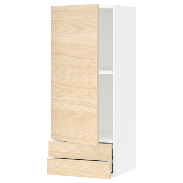 METOD / MAXIMERA Wall cabinet with door/2 drawers, white/Askersund light ash effect, 40x100 cm
