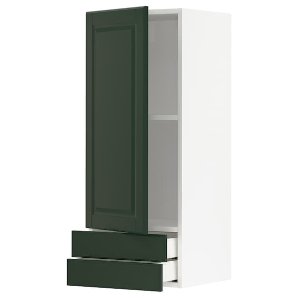 METOD / MAXIMERA Wall cabinet with door/2 drawers, white/Bodbyn dark green, 40x100 cm