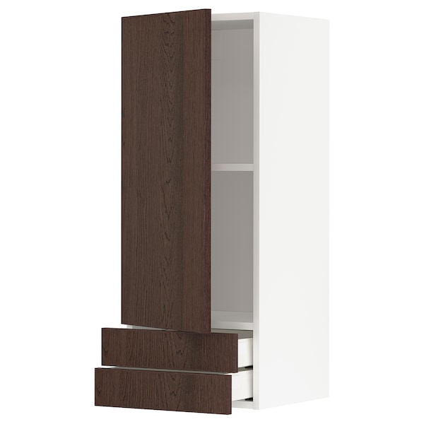 METOD / MAXIMERA Wall cabinet with door/2 drawers, white/Sinarp brown, 40x100 cm